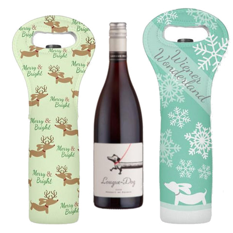 Wiener Dog Christmas Wine Gift Bag