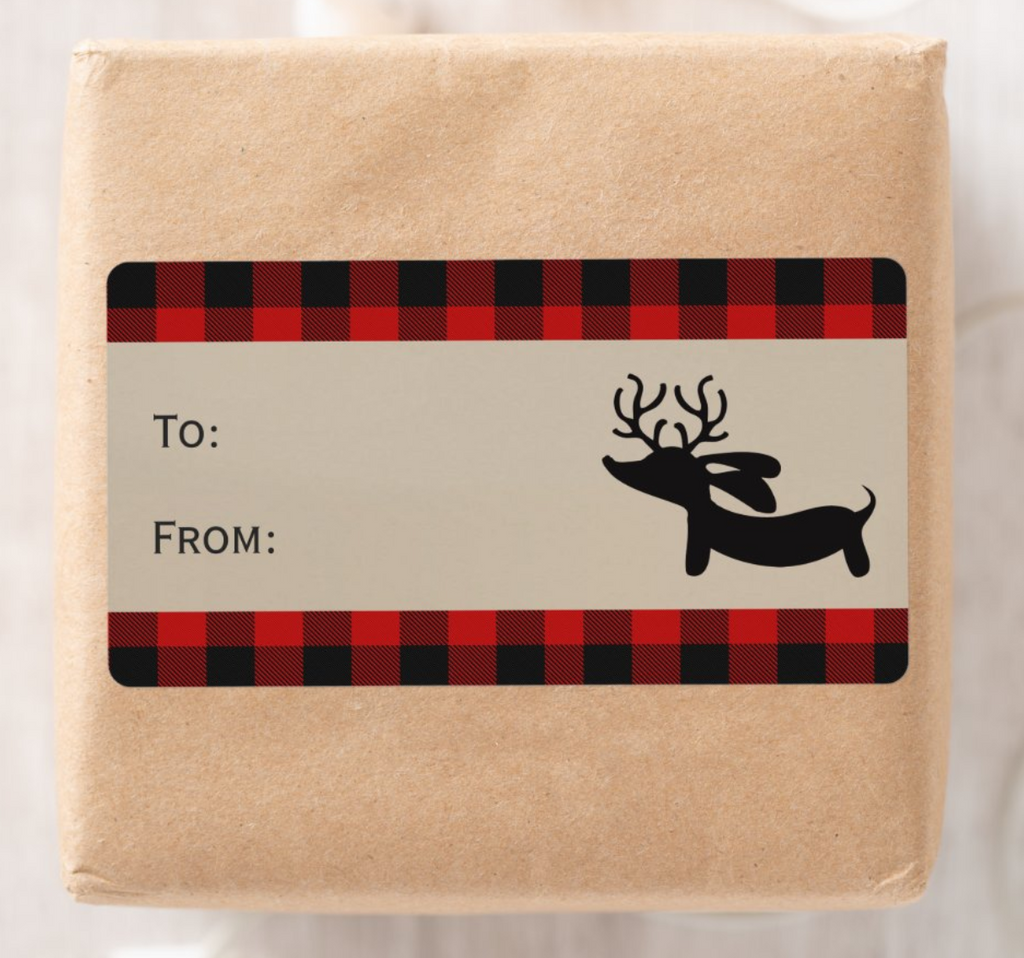 Wiener Dog Buffalo Plaid Christmas Gift Tags | 8 per sheet