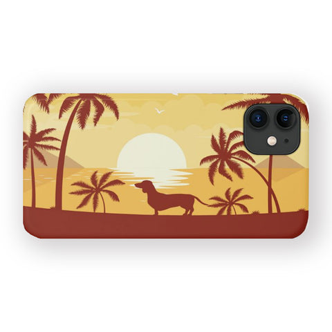 Dachshund Beach Sunset Mobile Phone Case | iPhone or Samsung Galaxy