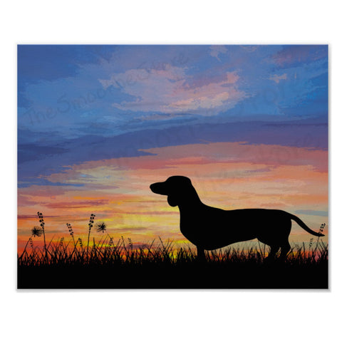 Dachshund Sunrise Art or Wiener Dog Dusk Print, The Smoothe Store