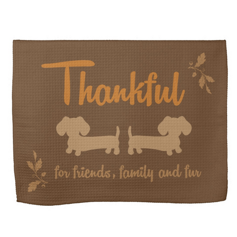 Friends, Family and Fur Dachshund Dish Towel