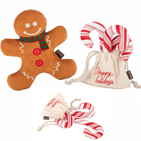 Dog Christmas Toys - Candy Cane and Gingerbread Man, The Smoothe Store