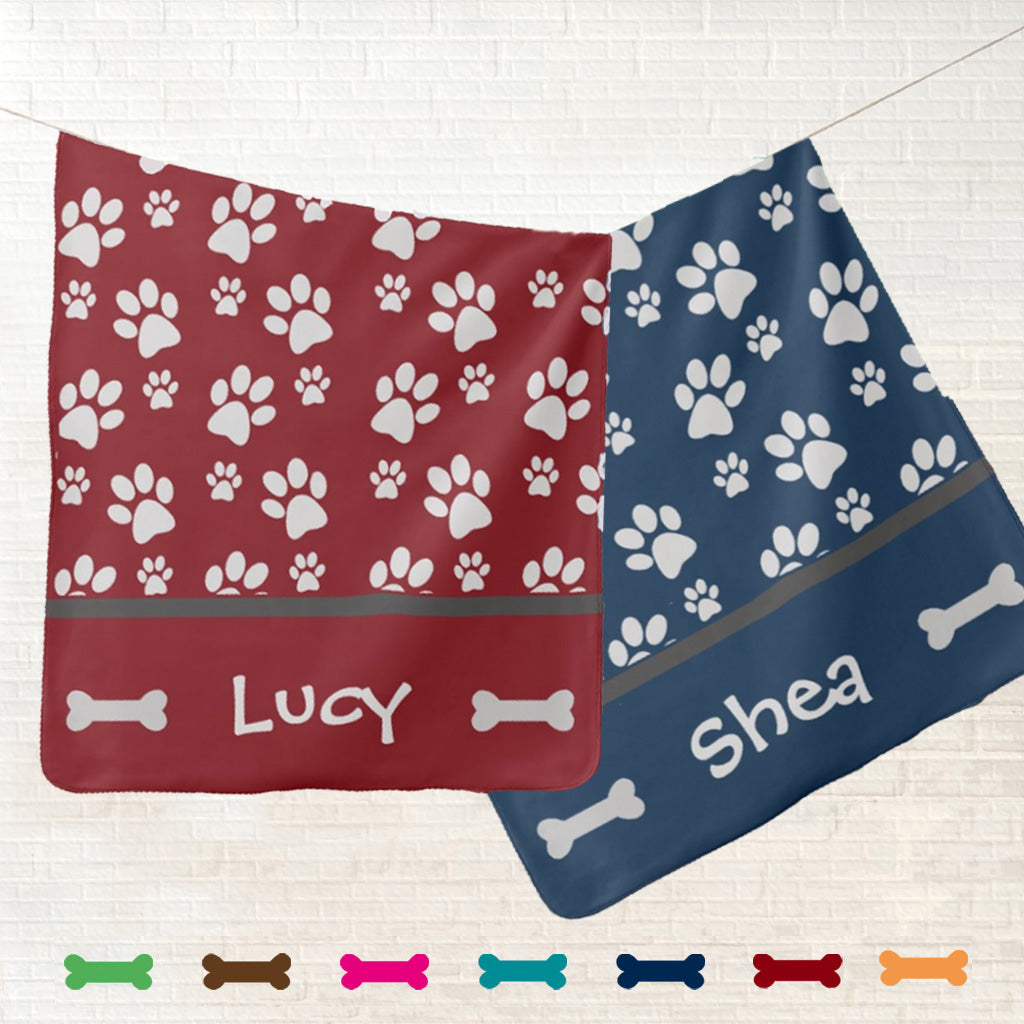 Personalized Dog Blanket - Paw Prints