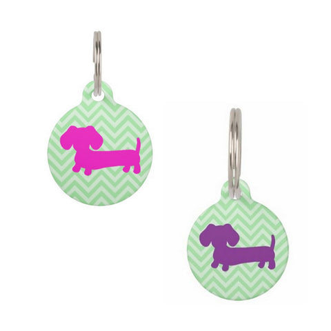Purple or Pink Dachshund on Green Chevrons