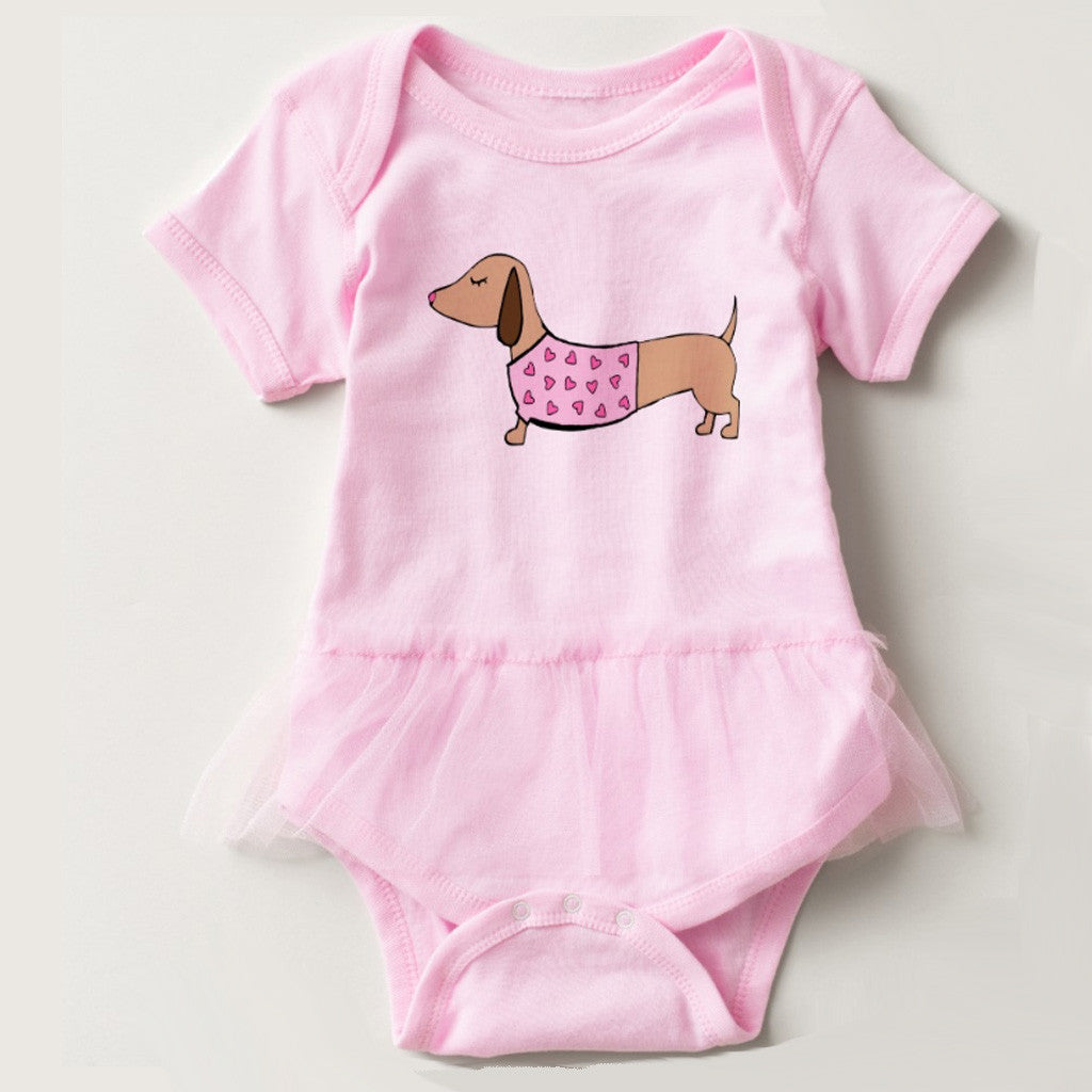 Dachshund Pink Tutu Baby Outfit, The Smoothe Store