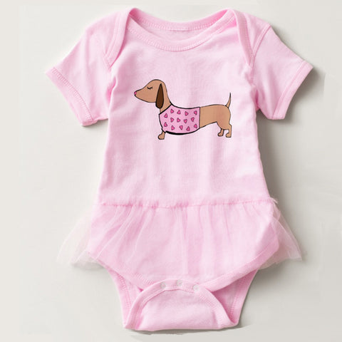 Dachshund Pink Tutu Baby Outfit