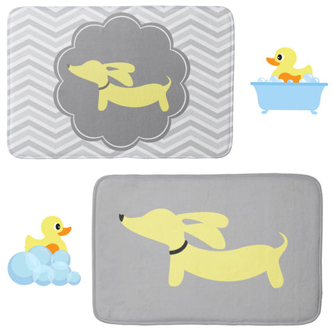 Yellow Doxie Dog Bath Rugs, The Smoothe Store