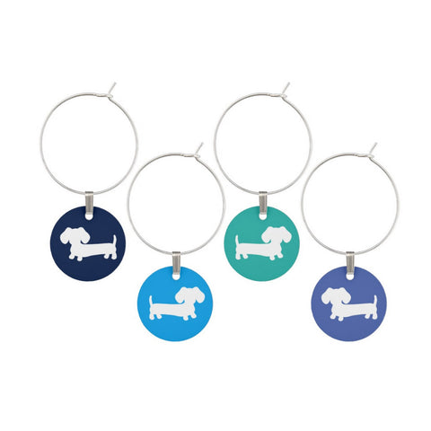 Blue Wiener Dog Wine Glass Charms