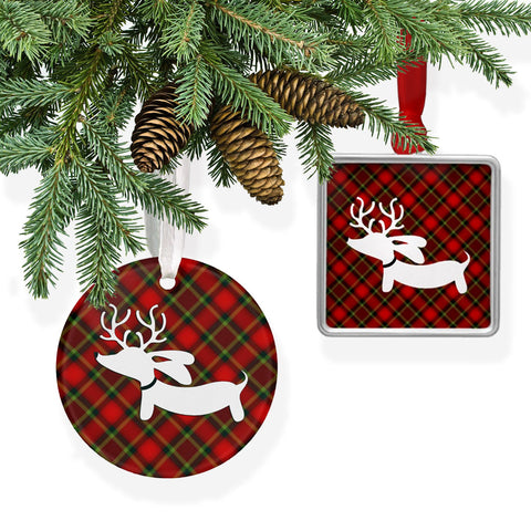 Plaid Reindeer Dachshund Christmas Tree Ornament