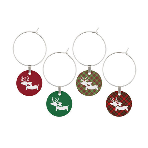 Christmas Dachshund Wine Glass Charms