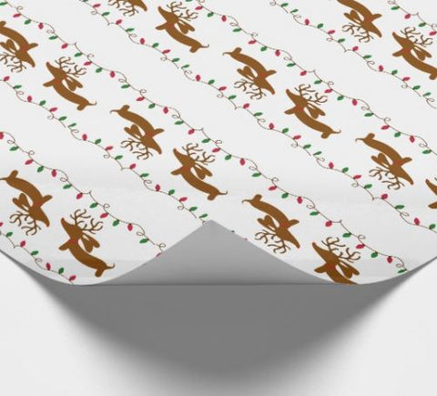Dachshund Gift Wrap with Christmas Tree Lights