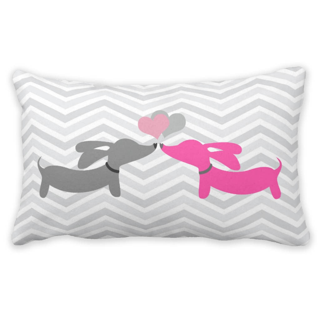 Kissing Dachshunds Pillow - Puppy Love, The Smoothe Store