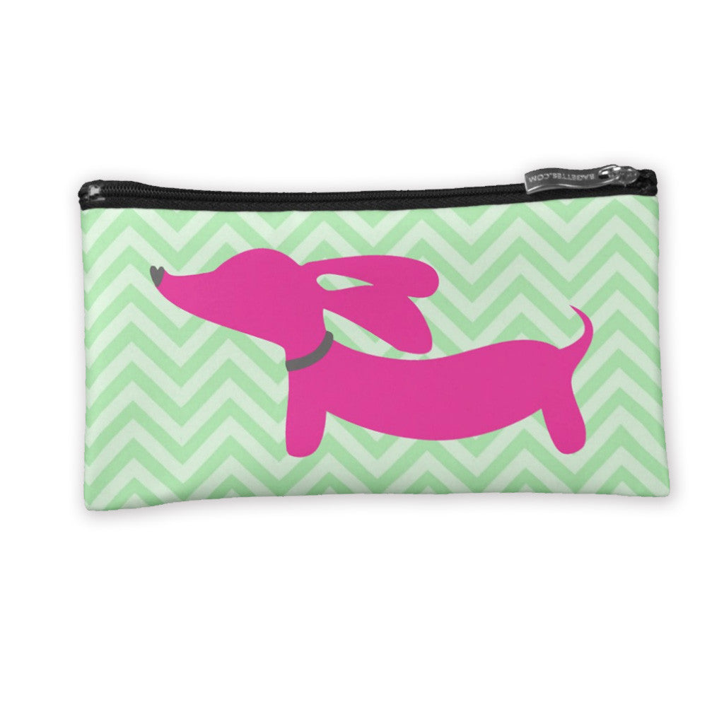 Pink Dachshund on Accessory Bags, The Smoothe Store