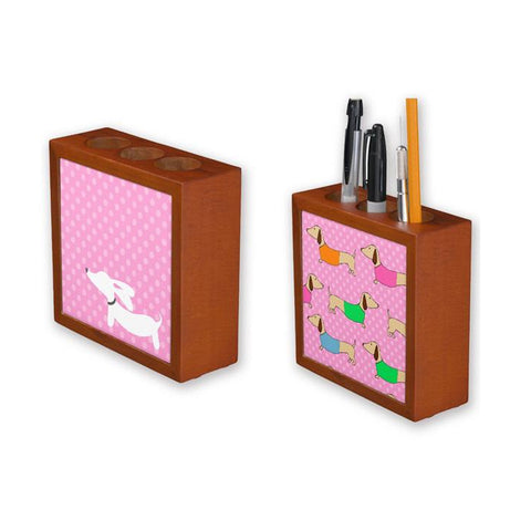 Dachshund Pen Holder - Pink Polka Dots