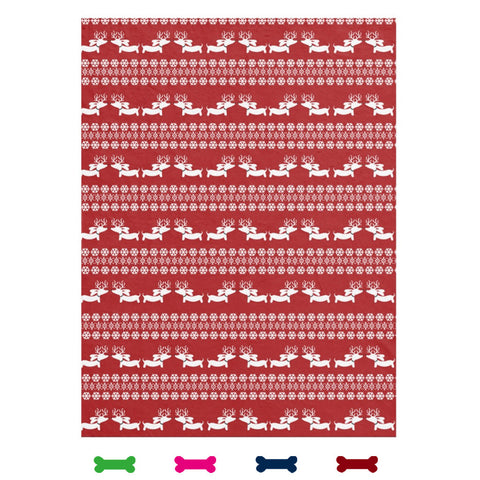 Fair Isle Dachshund Fleece Blanket (Red, Navy, Pink or Green)