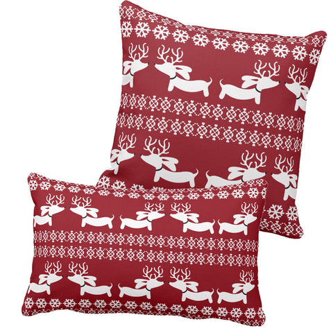 Fair Isle Dachshund Holiday Accent Pillow