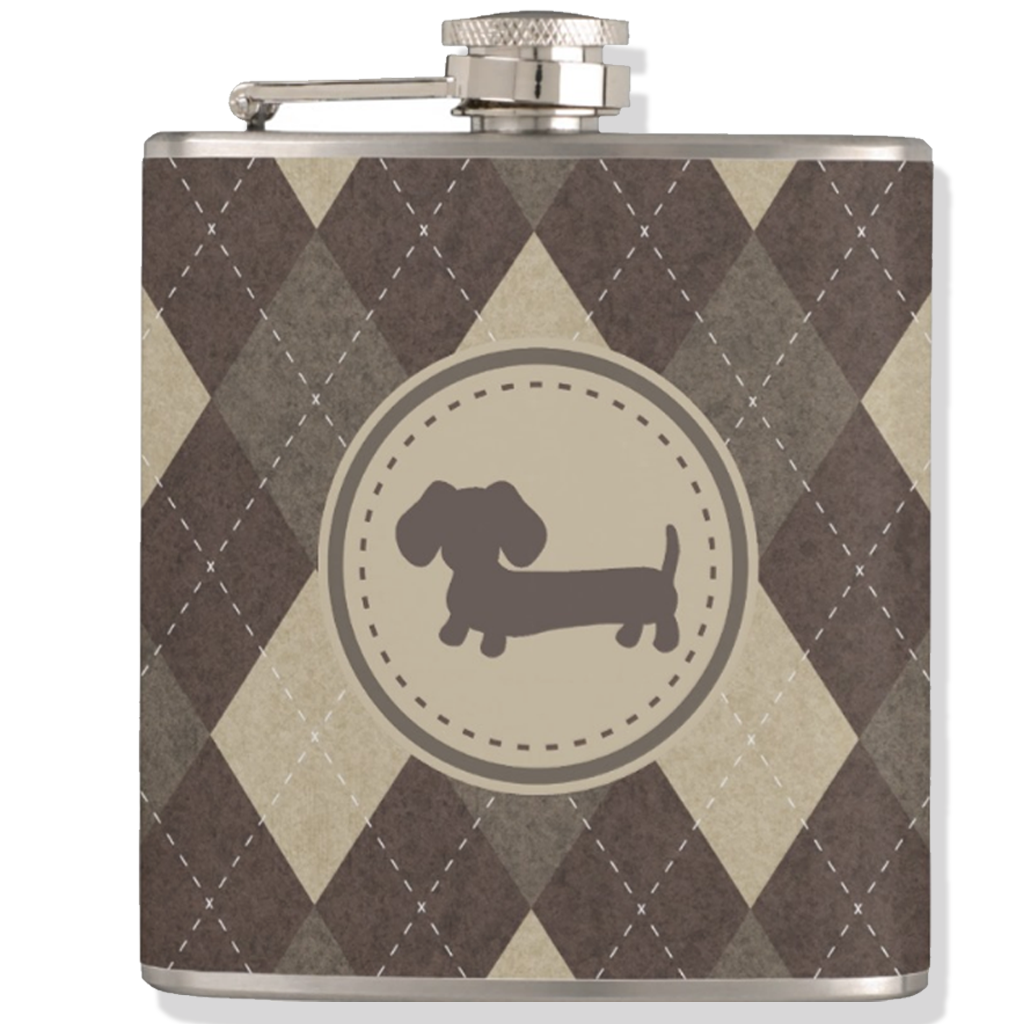 Chocolate Brown Argyle Dachshund Flask, The Smoothe Store