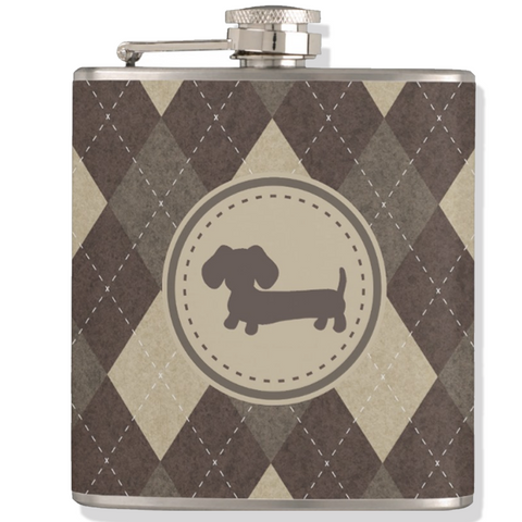 Chocolate Brown Argyle Dachshund Flask