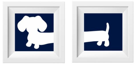 Navy Dachshund Nursery Art Prints, The Smoothe Store