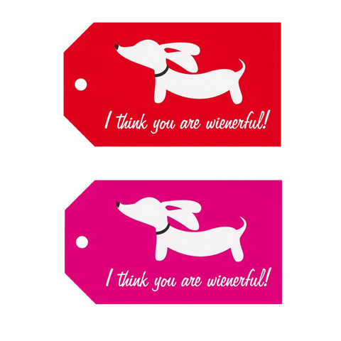 """I think you are wienerful!"" Dachshund Gift Tags"