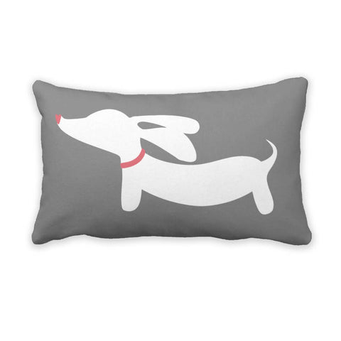 Gray Dachshund Pillow
