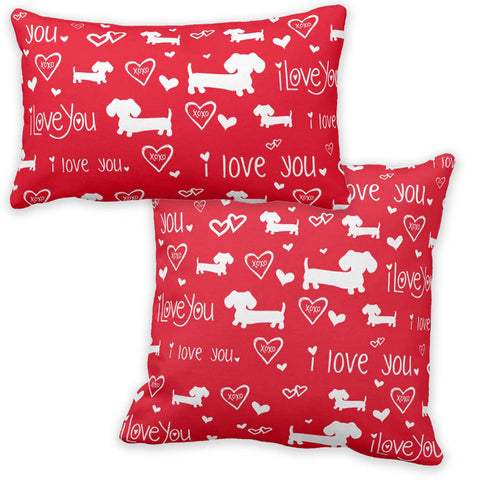 I Love Dachshunds Red Pillow - The Smoothe Store