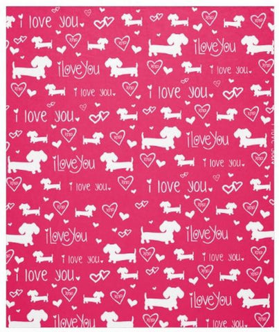 I Love You and Hearts Dachshund Fleece Blanket - The Smoothe Store - 3
