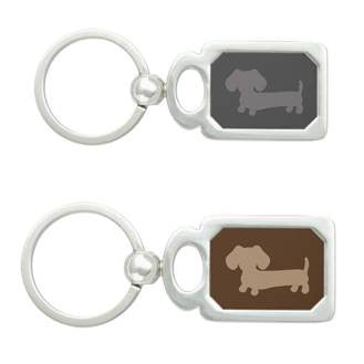 Gray or Brown Dachshund Key Ring