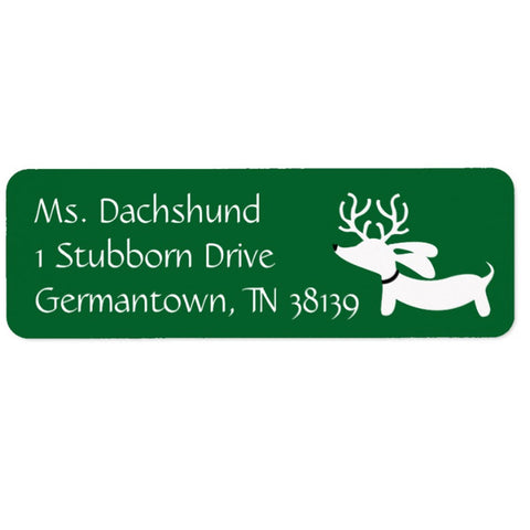 Red, Green or Plaid Reindeer Dachshund Return Address Labels