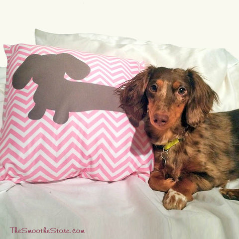 Pink U0026 Gray Chevron Dachshund Pillow