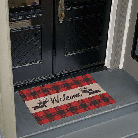 Buffalo Plaid Reindeer Dachshund Doormat - The Smoothe Store - 2