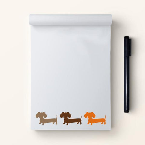 Earthy Toned Multi-colored Dachshund Note Pad Gift Set