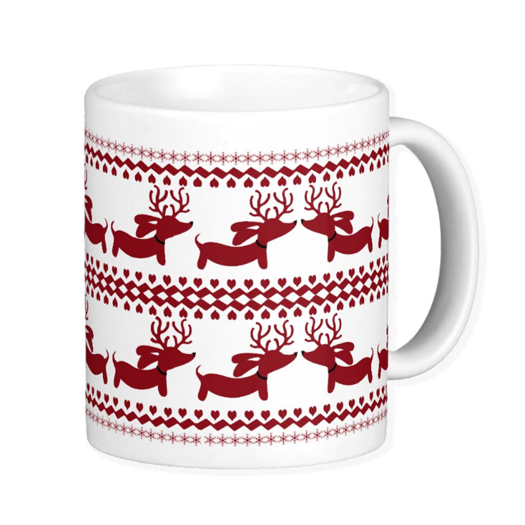 Fair Isle Ugly Sweater Dachshund Coffee Mug, The Smoothe Store