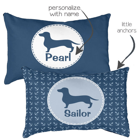 Dachshund Bed Nautical, Navy and Personalized