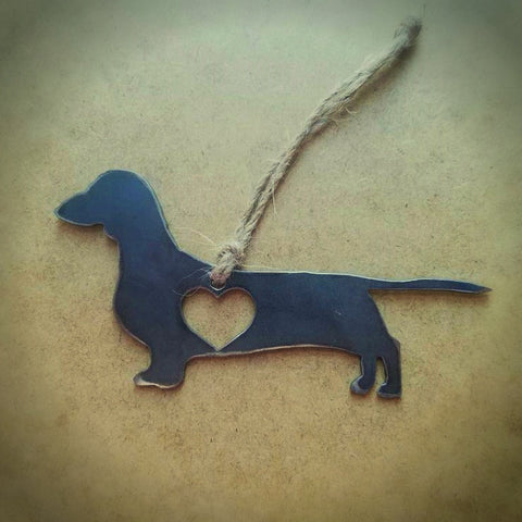 Rustic Dachshund Steel Christmas Ornament, The Smoothe Store