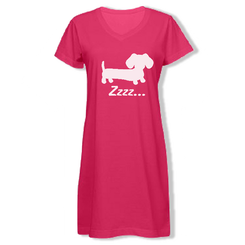 Dachshund Zzzzz Night Gown Sleep Shirt
