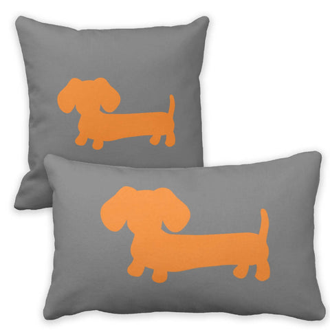 Orange & Gray Dachshund Pillow, The Smoothe Store