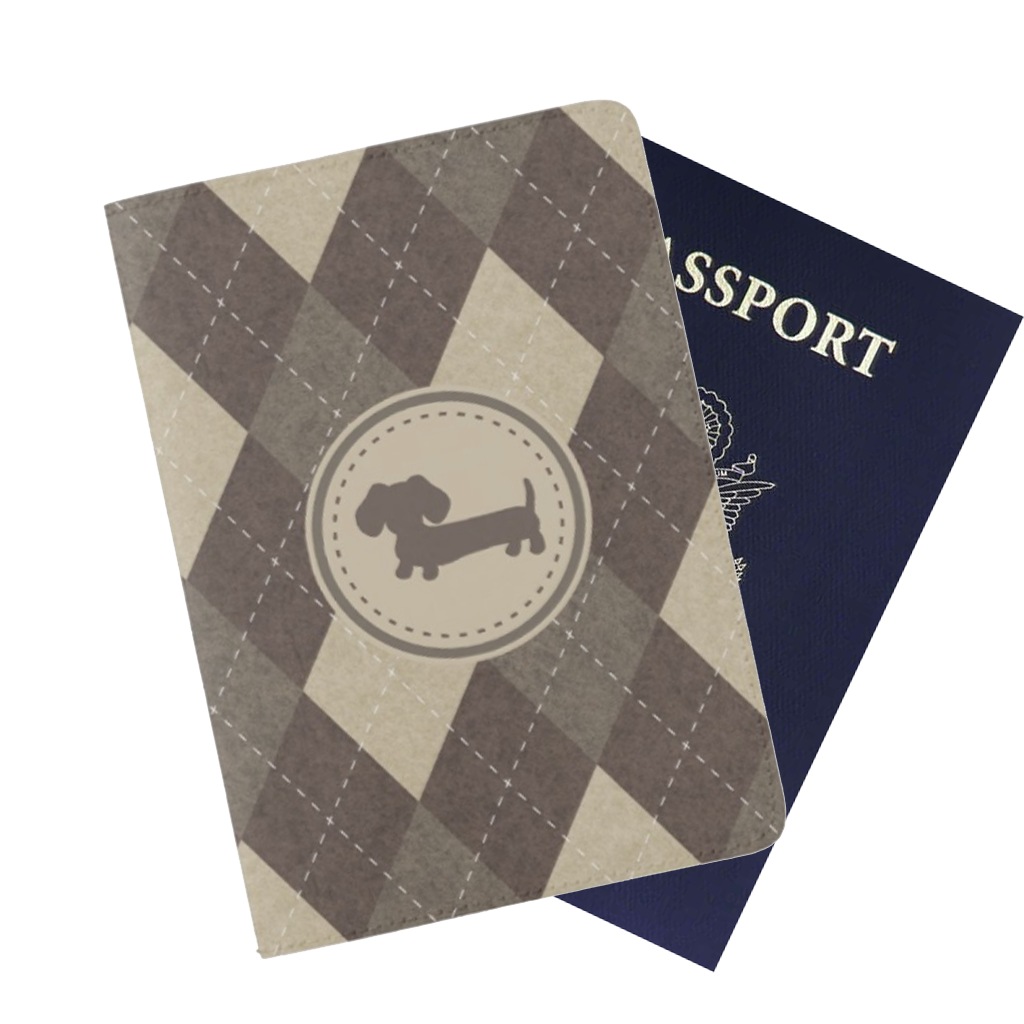 Brown Argyle Dachshund Passport Cover - The Smoothe Store