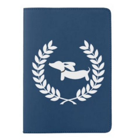 Navy Laurel Wreath Dachshund Passport Cover