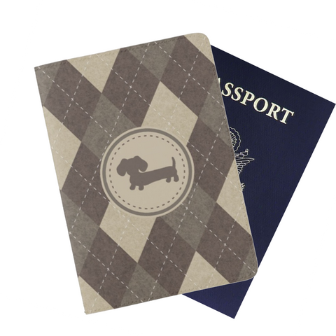 Brown Argyle Dachshund Passport Cover