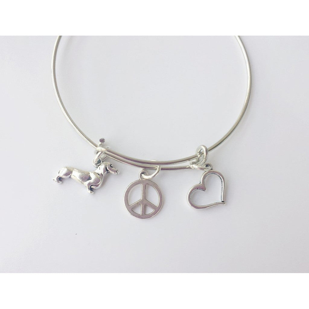 Peace, Love & Wiener Dogs Bangle Charm Bracelet, The Smoothe Store