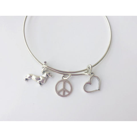 Peace, Love & Wiener Dogs Bangle Charm Bracelet