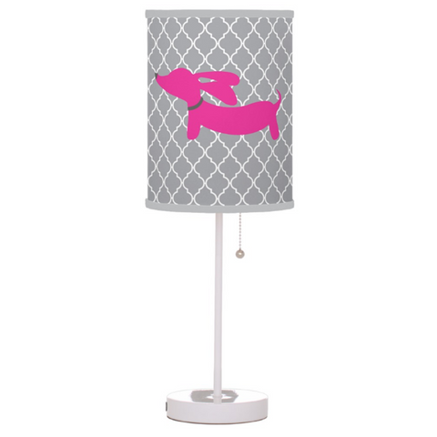 Pink and Gray Lattice Dachshund Lamp