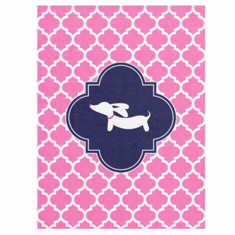 Pink Moroccan Lattice Dachshund Fleece Blanket - The Smoothe Store