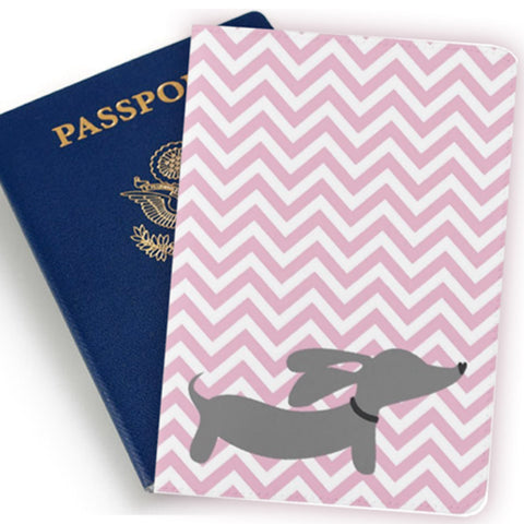 Pink Chevron Dachshund Passport Holder