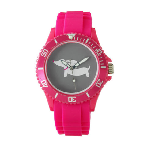 Sporty Pink Dachshund Silicone Band Watch, The Smoothe Store