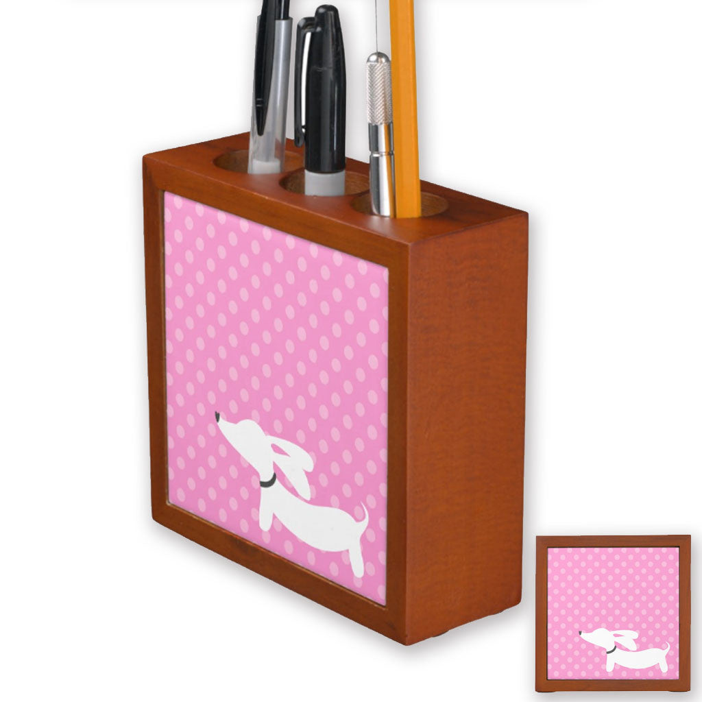 Dachshund Pen Holder - Pink Polka Dots, The Smoothe Store