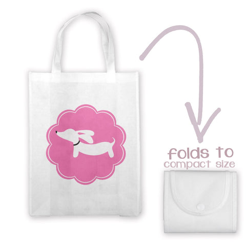 Pink and Gray Doxie Tote Bag