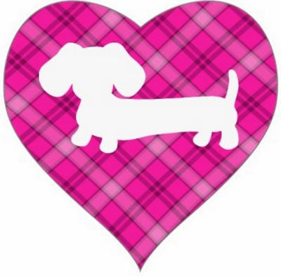 Pink Plaid Dachshund Heart Shaped Stickers