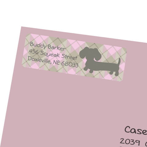 Pink Plaid Wiener Dog Return Address Labels, The Smoothe Store